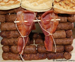 Sausage Log Cabin with Bacon Curtains Extreme Close-up